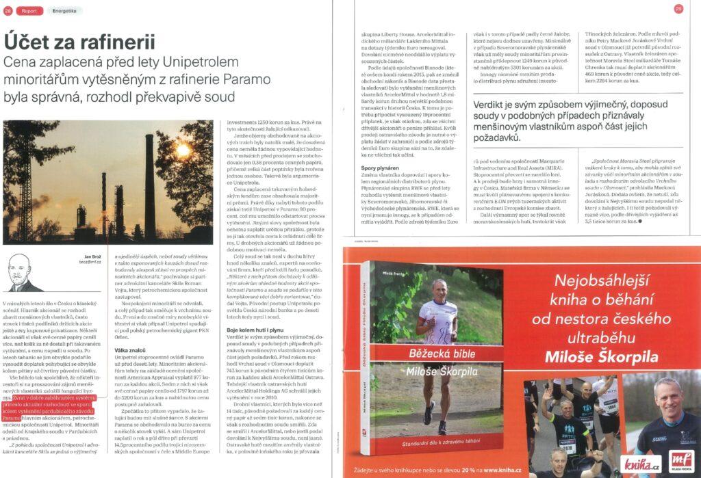 Advokátní kancelář Skils úspěšně zastupovala Unipetrol ve sporu s minoritními akcionáři společnosti Paramo